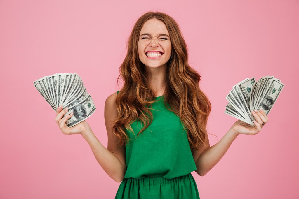 Woman happy about money gift